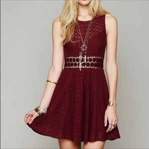 Free People Maroon Lace Dress Size 2